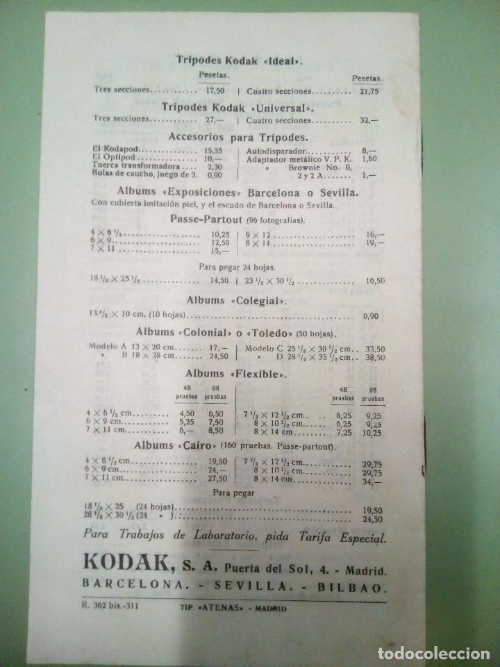 Cámara de fotos: Fasiculo tarifa de precio de los aparatos Kodak, Brownies y Halcon, 1931 - Foto 2 - 194496925