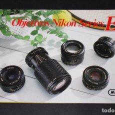 Cámara de fotos: CATÁLOGO DE OBJETIVOS NIKON SERIES E - '80S. - 7 PÁG.. Lote 194709482