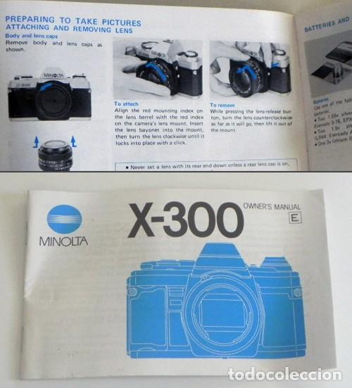 MANUAL INSTRUCCIONES DE LA CÁMARA RÉFLEX MINOLTA X-300 -EN INGLÉS - GUÍA DE USO DE X300 - FOTOGRAFÍA (Cámaras Fotográficas - Catálogos, Manuales y Publicidad)