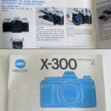 Cámara de fotos: MANUAL INSTRUCCIONES DE LA CÁMARA RÉFLEX MINOLTA X-300 -EN INGLÉS - GUÍA DE USO DE X300 - FOTOGRAFÍA. Lote 195120513