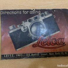 Cámara de fotos: MANUAL DE INSTRUCCIONES LEICA IIIC. Lote 197621630
