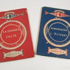 Câmaras de fotos: LOTE 2 LIBROS. LA CAMARA 24X36 Y ARMONIZACION Y RETOQUE. FOTO-NORMA . LIBRO FOTOGRAFIA. Lote 197986521
