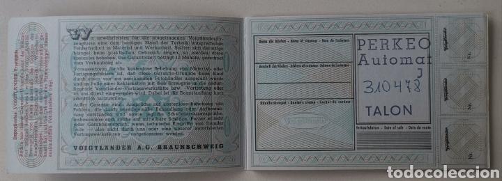 Cámara de fotos: Garantía Voigtlander A. G. Braunschweig Garantie Urkunde - Fotografía foto -Perkeo Automat- Años 60 - Foto 2 - 199032426