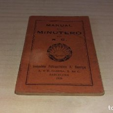 Cámara de fotos: MANUAL DEL MINUTERO, GARRIGA, BARCELONA 1926. Lote 199931478