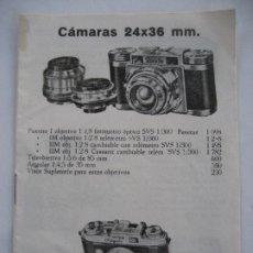 Cámara de fotos: PEQUEÑO CATALOGO DE CAMARAS FOTOGRAFICAS.. Lote 200733797