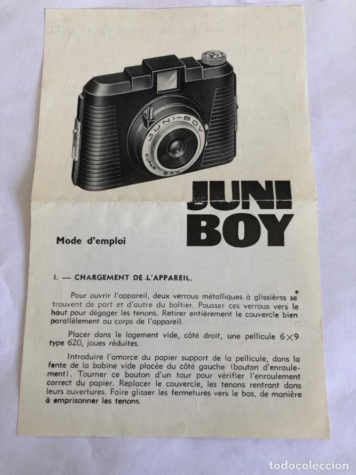 ANTIGUO FOLLETO DE MODO DE EMPLEO DE LA CAMARA DE FOTOS JUNI BOY (Cámaras Fotográficas - Catálogos, Manuales y Publicidad)