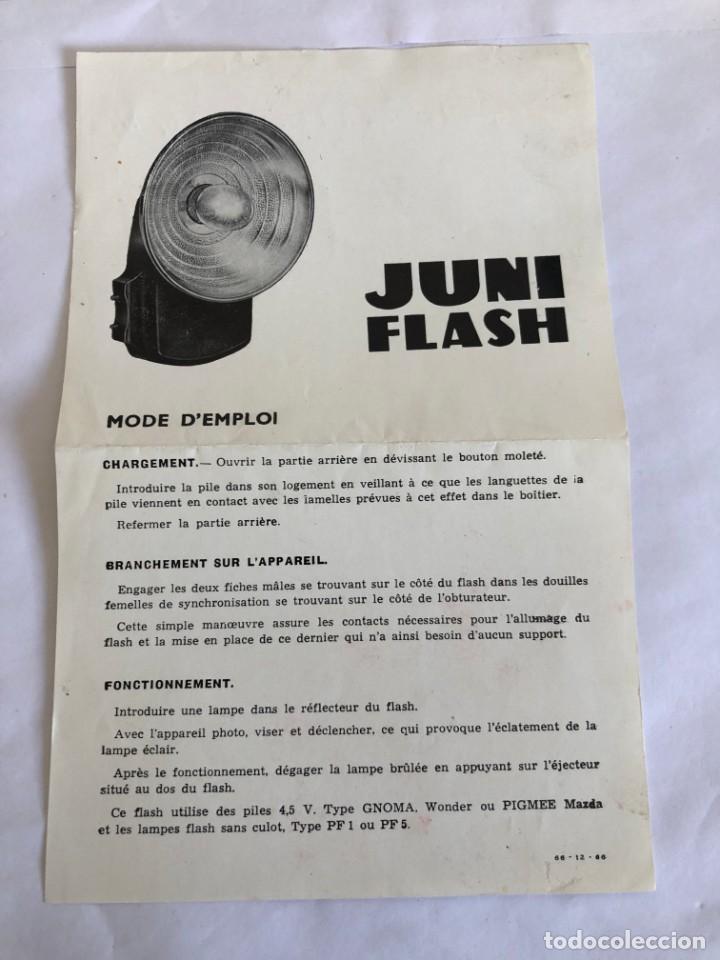 ANTIGUO FOLLETO DE MODO DE EMPLEO DEL FLASH JUNI BOY (Cámaras Fotográficas - Catálogos, Manuales y Publicidad)