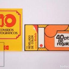Cámara de fotos: VALE REGALO Y FOLLETO PUBLICITARIO DE KODAK - PELÍCULA FOTOGRÁFICA. 10 CONSEJOS FOTOGRÁFICOS - 1974. Lote 204245858