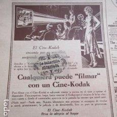 Cámara de fotos: PUBLICIDAD 1930 - CAMARA CINE KODAK 15 X 22 CM - HARINA LACTEADA NESTLE - TAMAÑO 14 X 21 CM.. Lote 204989816