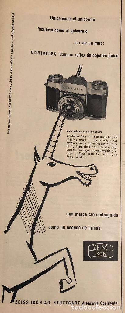 PUBLICIDAD DE PRENSA DE MÁQUINA CONTAFLEX ZEISS. ORIGINAL AÑO 1954. 14 X 35 CM. BUEN ESTADO. (Cámaras Fotográficas - Catálogos, Manuales y Publicidad)
