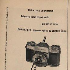 Cámara de fotos: PUBLICIDAD DE PRENSA DE MÁQUINA CONTAFLEX ZEISS. ORIGINAL AÑO 1954. 14 X 35 CM. BUEN ESTADO.. Lote 205126178
