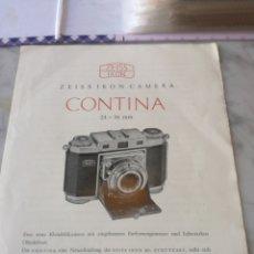 Cámara de fotos: MANUAL CAMARA ZEISS CONTINA. Lote 205255582