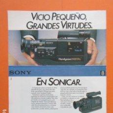 Cámara de fotos: PUBLICIDAD 1987 - ELECGRONICA - SONICAR CAMARA HANDYCAM DIGITAL V-50 SONY - TAMAÑO 22,5 X 30 CM. Lote 205768516