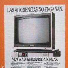 Cámara de fotos: PUBLICIDAD 1987 - ELECTRONICA - SONICAR SONY TV TRINITRON - TAMAÑO 22,5 X 30 CM. Lote 205768673
