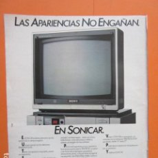 Cámara de fotos: PUBLICIDAD 1987 - ELECTRONICA - SONICAR SONY TV TRINITRON - TAMAÑO 22,5 X 30 CM. Lote 205768762
