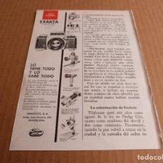 Cámara de fotos: ANUNCIO CAMARA DE FOTOS EXAKTA VAREX II B - PUBLICIDAD DE 1967. Lote 205884872