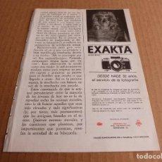 Cámara de fotos: ANUNCIO CAMARA DE FOTOS EXAKTA VX-1000 - PUBLICIDAD DE 1968. Lote 205885025