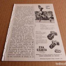 Cámara de fotos: ANUNCIO CAMARA DE FOTOS EXA EXAKTA VAREX OBJETIVOS JENA S MEYER ORESTEGOR - PUBLICIDAD DE 1967. Lote 205885463