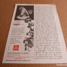 Cámara de fotos: ANUNCIO CAMARA DE FOTOS EXA EXAKTA VAREX IIB - PUBLICIDAD DE 1967. Lote 205885710
