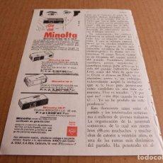 Cámara de fotos: ANUNCIO CAMARA DE FOTOS MINOLTA 16 EE II P - PUBLICIDAD DE LOS AÑOS 60. Lote 205887546