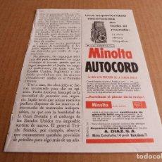 Cámara de fotos: ANUNCIO CAMARA DE FOTOS MINOLTA AUTOCORD ROKKOR - PUBLICIDAD DE 1964. Lote 205887965