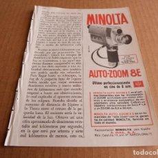 Cámara de fotos: ANUNCIO TOMAVISTAS MINOLTA AUTO ZOOM 8 E - PUBLICIDAD DE 1964. Lote 205895045