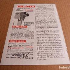 Cámara de fotos: ANUNCIO TOMAVISTAS ELMO 8-EE 8-SS - PUBLICIDAD DE LOS AÑOS 60. Lote 205895756