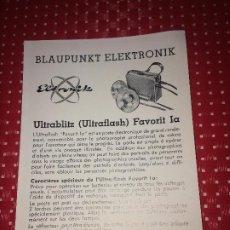 Cámara de fotos: BLAUPUNKT ELEKTRONIK - ULTRABLITZ ( ULTRAFLASH ) FAVORIT IA - FOLLETO - AÑOS 50. Lote 206441338