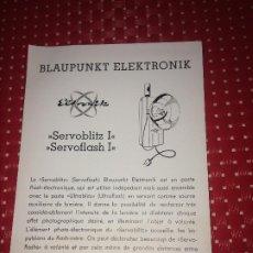Cámara de fotos: BLAUPUNKT ELEKTRONIK - SERVOBLITZ I - SERVOFLASH I - FOLLETO - AÑOS 50. Lote 206441583
