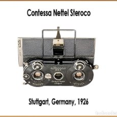 Cámara de fotos: CONTESSA NETTEL STEROCO. FORMIDABLE CAMARA ESTEREOPEICA DE 1926. IMPECABLE ESTADO.. Lote 207447893