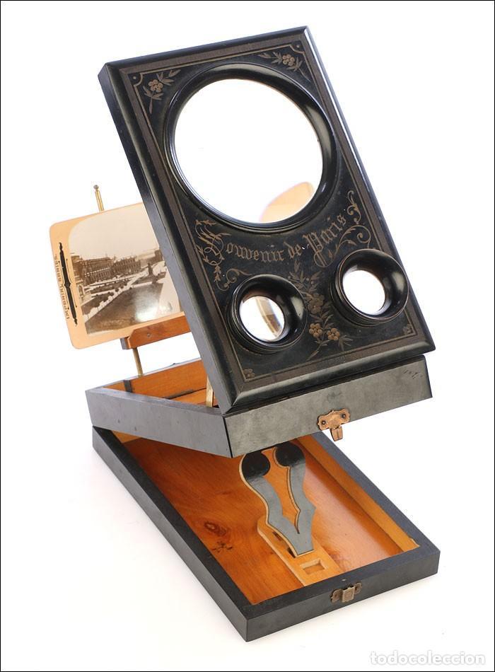 Cámara de fotos: Antiguo Grafoscopio Francés + 29 Fotos Estereoscópicas. Francia, Circa 1900 - Foto 2 - 210665374