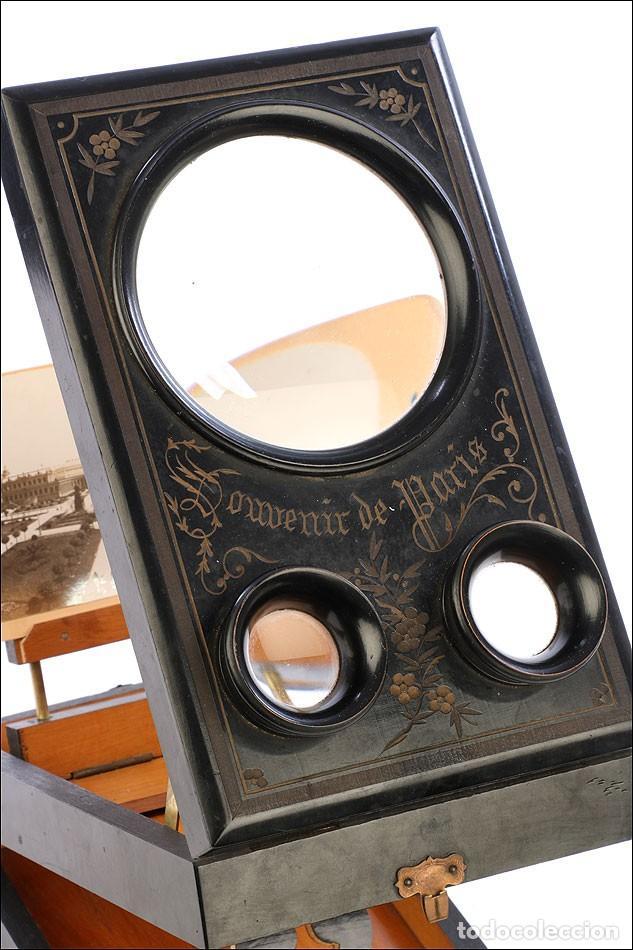 Cámara de fotos: Antiguo Grafoscopio Francés + 29 Fotos Estereoscópicas. Francia, Circa 1900 - Foto 3 - 210665374