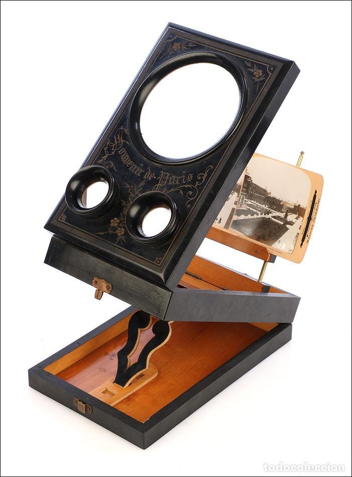 Cámara de fotos: Antiguo Grafoscopio Francés + 29 Fotos Estereoscópicas. Francia, Circa 1900 - Foto 4 - 210665374