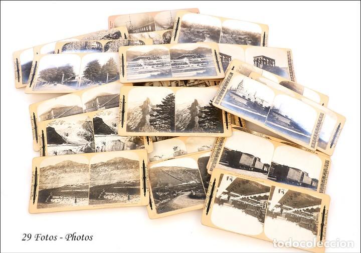 Cámara de fotos: Antiguo Grafoscopio Francés + 29 Fotos Estereoscópicas. Francia, Circa 1900 - Foto 11 - 210665374