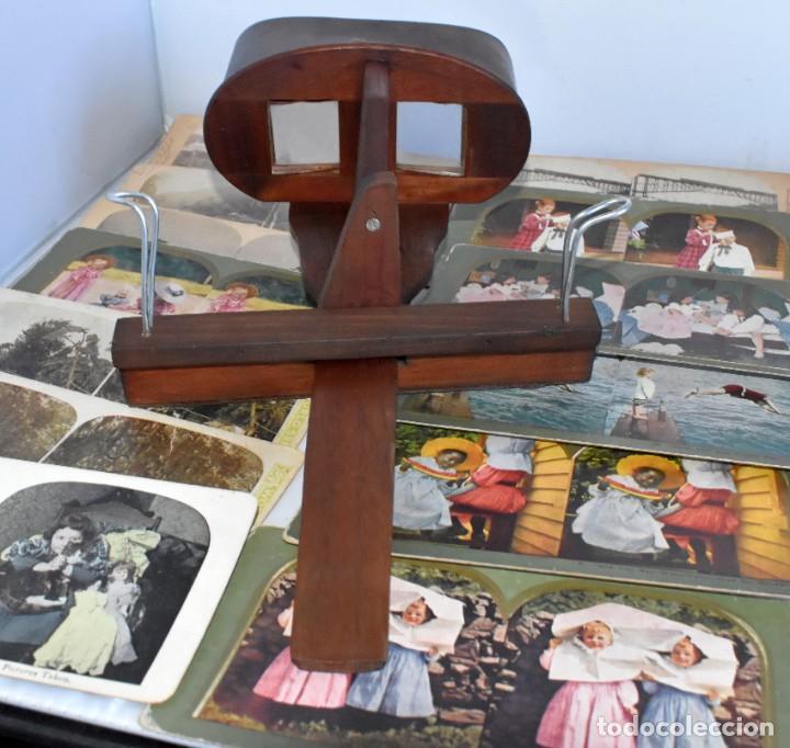 Cámara de fotos: SIGLO XIX. VISOR ESTEREOSCOPICO..ESTEREOSCOPIO, EN NOGAL+13 FOTOS.ARTESANAL.MUY BUEN ESTADO.FUNCIONA - Foto 2 - 216606155