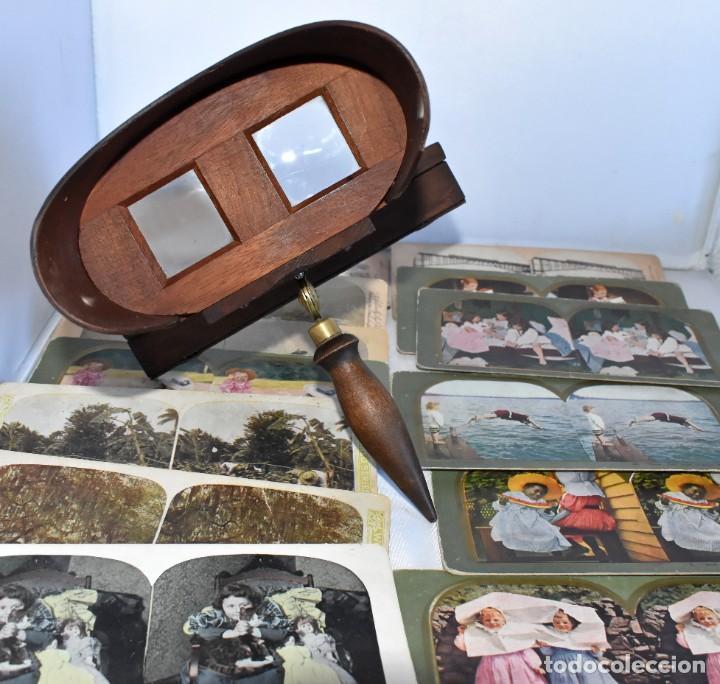 Cámara de fotos: SIGLO XIX. VISOR ESTEREOSCOPICO..ESTEREOSCOPIO, EN NOGAL+13 FOTOS.ARTESANAL.MUY BUEN ESTADO.FUNCIONA - Foto 3 - 216606155