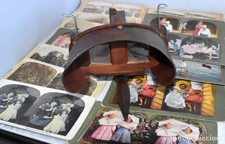 Cámara de fotos: SIGLO XIX. VISOR ESTEREOSCOPICO..ESTEREOSCOPIO, EN NOGAL+13 FOTOS.ARTESANAL.MUY BUEN ESTADO.FUNCIONA - Foto 6 - 216606155