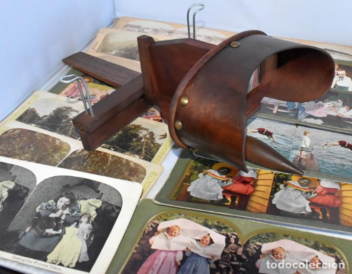 Cámara de fotos: SIGLO XIX. VISOR ESTEREOSCOPICO..ESTEREOSCOPIO, EN NOGAL+13 FOTOS.ARTESANAL.MUY BUEN ESTADO.FUNCIONA - Foto 7 - 216606155