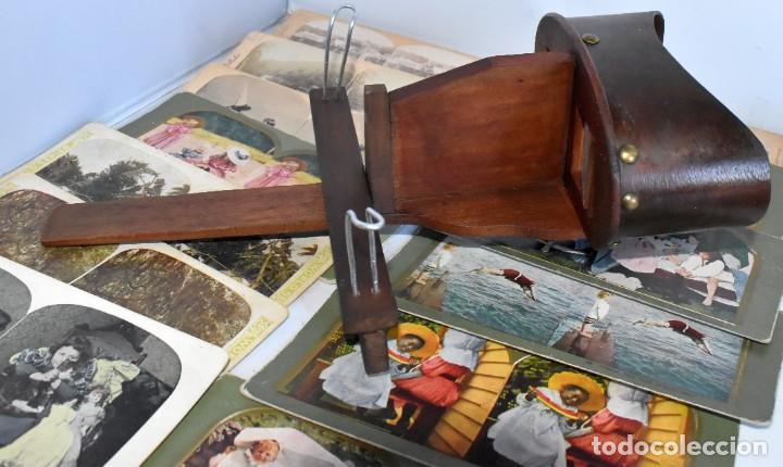Cámara de fotos: SIGLO XIX. VISOR ESTEREOSCOPICO..ESTEREOSCOPIO, EN NOGAL+13 FOTOS.ARTESANAL.MUY BUEN ESTADO.FUNCIONA - Foto 8 - 216606155
