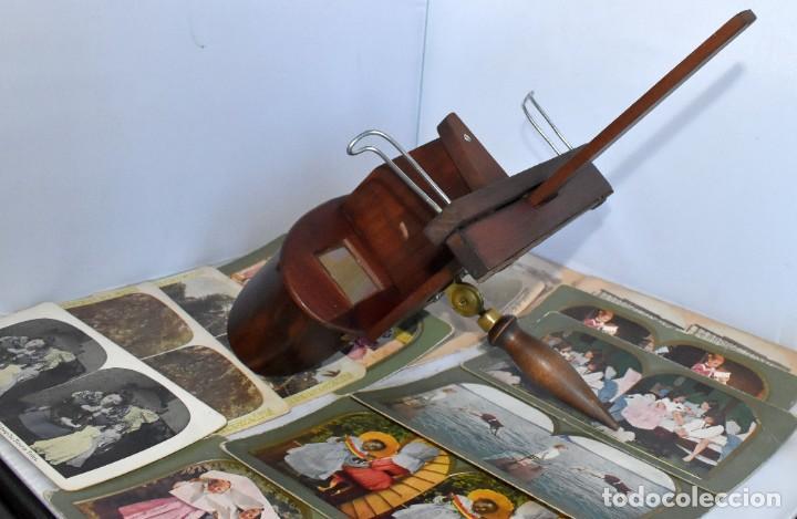 Cámara de fotos: SIGLO XIX. VISOR ESTEREOSCOPICO..ESTEREOSCOPIO, EN NOGAL+13 FOTOS.ARTESANAL.MUY BUEN ESTADO.FUNCIONA - Foto 9 - 216606155