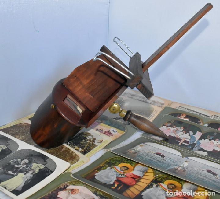 Cámara de fotos: SIGLO XIX. VISOR ESTEREOSCOPICO..ESTEREOSCOPIO, EN NOGAL+13 FOTOS.ARTESANAL.MUY BUEN ESTADO.FUNCIONA - Foto 10 - 216606155