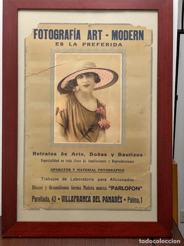 CARTEL FOTOGRAFÍA ART - MODERN VILLAFRANCA DEL PANADÉS PUBLICIDAD AÑOS 20 (Cámaras Fotográficas - Catálogos, Manuales y Publicidad)