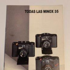 Cámara de fotos: CATÁLOGO DE 1990 CÁMARA DE FOTOS MINOX 35 ML GT. Lote 219734043