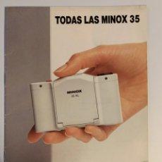 Cámara de fotos: CATÁLOGO DE 1988 CÁMARA DE FOTOS MINOX 35 AL GT ML MB LX EC. Lote 219734526