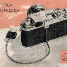 """Cámara de fotos: FOLLETO RARO CARACTERÍSTICAS DE LA CÁMARA FOTOGRÁFICA """"LA LEICA SINCRONIZADA"""" E. LEITZ - WETZLAR. Lote 219831413"""