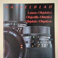 Cámara de fotos: HASSELBLAD. FOLLETO OBJETIVOS, CASTELLANO, 1982. 28 X 21 CM. 30 PÁGINAS. Lote 221147296