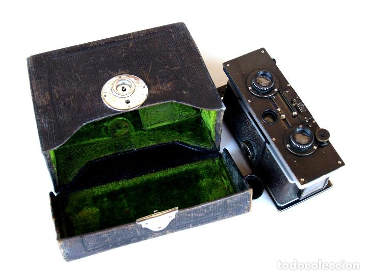 Cámara de fotos: *c1909* • Zulauf (Zurich) POLYSCOP II Type 1 Tessare f4.5 • Estereográfica antigua 45x107mm (Funda) - Foto 2 - 222079105