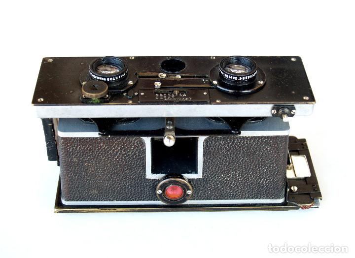 Cámara de fotos: *c1909* • Zulauf (Zurich) POLYSCOP II Type 1 Tessare f4.5 • Estereográfica antigua 45x107mm (Funda) - Foto 8 - 222079105