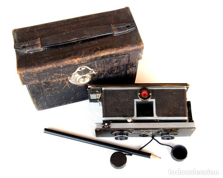 Cámara de fotos: *c1909* • Zulauf (Zurich) POLYSCOP II Type 1 Tessare f4.5 • Estereográfica antigua 45x107mm (Funda) - Foto 9 - 222079105