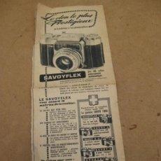 Cámara de fotos: ANTIGUA PUBLICIDAD DE PERIODICO DE CAMARA DE FOTOS. SAVOY FLEX. FRANCIA.. Lote 227072379